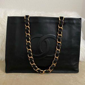 Chanel Chain Large Shoulder Tote Bag Black